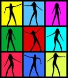 Silhuetas fêmeas da dança Vetor EPS 8 Fotografia de Stock