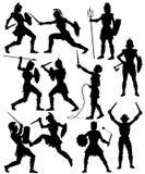 Silhuetas fêmeas do gladiador Fotografia de Stock