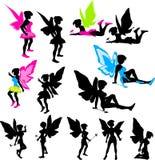 Silhuetas feericamente de néon Imagens de Stock Royalty Free