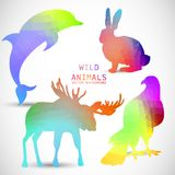 Silhuetas geométricas dos animais, golfinho, coelho Foto de Stock Royalty Free