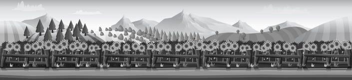 Silhuetas horizontais da bandeira do vetor de pastar a exploração agrícola ilustração do vetor
