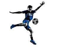 Silhuetas italianas do homem dos jogadores de futebol Foto de Stock