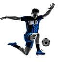 Silhuetas italianas do homem dos jogadores de futebol Imagens de Stock