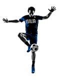 Silhuetas italianas do homem dos jogadores de futebol Foto de Stock Royalty Free