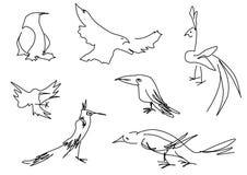 Silhuetas lineares dos pássaros do esboço ajustadas Fotos de Stock Royalty Free