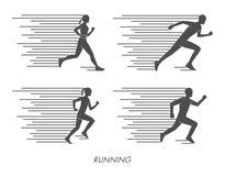 Silhuetas lisas dos corredores O preto figura o marathoner Imagens de Stock