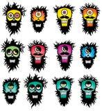 Silhuetas loucas do bigode da barba Fotografia de Stock Royalty Free
