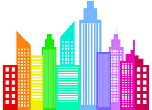 Silhuetas modernas das construções dos arranha-céus da cidade Fotos de Stock Royalty Free