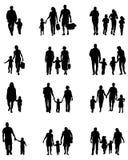 Silhuetas pretas das famílias ilustração royalty free