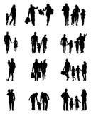Silhuetas pretas das famílias ilustração do vetor