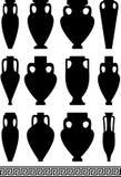 Silhuetas pretas de amphorae e de vasos antigos Imagens de Stock