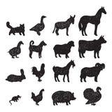 Silhuetas pretas dos animais de exploração agrícola Foto de Stock Royalty Free