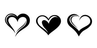 Silhuetas pretas dos corações. Fotos de Stock Royalty Free