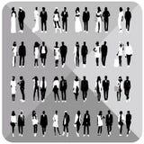 Silhuetas pretas dos pares, mulher, homem Imagens de Stock