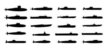 Silhuetas pretas dos submarinos ajustadas Fotografia de Stock Royalty Free