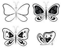 Silhuetas preto e branco das borboletas - ilustração do vetor Foto de Stock