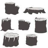 Silhuetas preto e branco do coto ajustadas Foto de Stock Royalty Free