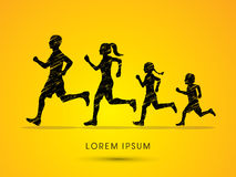 Silhuetas running da família Fotografia de Stock Royalty Free