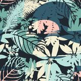 Silhuetas sem emenda florais abstratas do teste padrão das folhas e do fundo artístico Foto de Stock