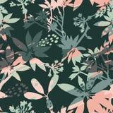 Silhuetas sem emenda florais abstratas do teste padrão das folhas e do fundo artístico Foto de Stock Royalty Free