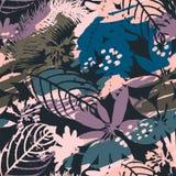 Silhuetas sem emenda florais abstratas do teste padrão das folhas e do fundo artístico Fotos de Stock Royalty Free