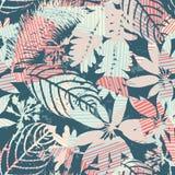 Silhuetas sem emenda florais abstratas do teste padrão das folhas e do fundo geométrico Fotos de Stock