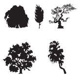 Silhuetas simples da árvore ilustração do vetor