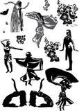 Silhuetas tradicionais do dencer ilustração royalty free