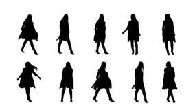 Silhuetas traseiras da cor da mulher ilustração royalty free
