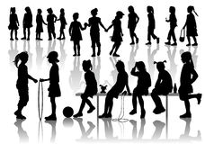 Silhuets of girls. Company of nineteen  young going, standing, sitting  friends Stock Images