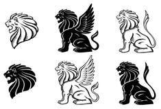 silhuette βρυχηθμού λιονταριών διανυσματική απεικόνιση