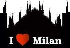 Silhuette Ι αγάπη Μιλάνο πόλεων διανυσματική απεικόνιση