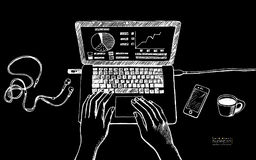 Silhuette bianco sull'illustrazione nera del fondo dei wi del posto di lavoro Immagine Stock