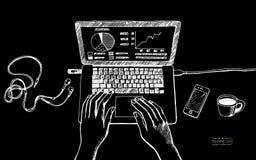 Silhuette blanc sur l'illustration noire de fond des WI de lieu de travail Image stock