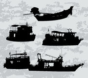Silhuette of boats and ferry. Vector black silhuette of boats and ferry Stock Photography