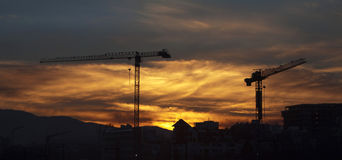 Silhuette of a cranes at sunset. Royalty Free Stock Image
