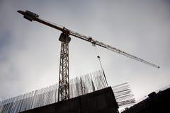 Silhuette de grue de construction Images stock