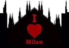 Silhuette de ville j'aime Milan illustration de vecteur