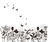 Silhuette do preto do vetor da grama e das borboletas Fotografia de Stock Royalty Free