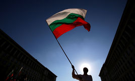 Silhuette of man with Bulgarian flag Stock Image