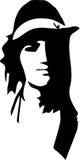 Silhuette noir de vecteur d'une hippie d'homme Photographie stock libre de droits