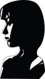 Silhuette sidoprofil av den ledsna kvinnaframsidan Arkivfoto