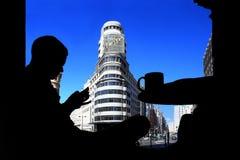 Silhuette van een mens in Madrid, Callao Stock Foto