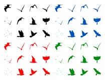 Silhuettes de pájaros imagenes de archivo