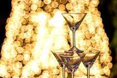 Silhuotte night party with champaign shot Royalty Free Stock Photography