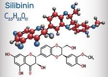 Silibinin silybin molekuła formalnie chemiczna formuła ilustracji