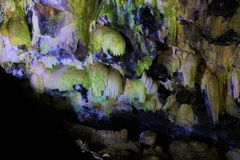 Silica Stalactites inside a cave. Algar do Carvao,. Silica Stalactites inside a Volcanic cave gallery in Terceira island. Algar do Carva, lava tube or volcanic royalty free stock image