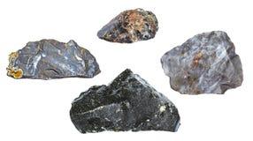 Silice isolato e rocce di sguardo interessanti su fondo bianco Fotografia Stock