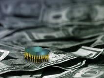 Siliciumchip op Contant geld Royalty-vrije Stock Foto