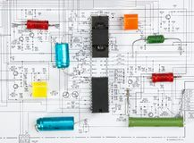 Silicon chip. On the wiring diagram stock photos